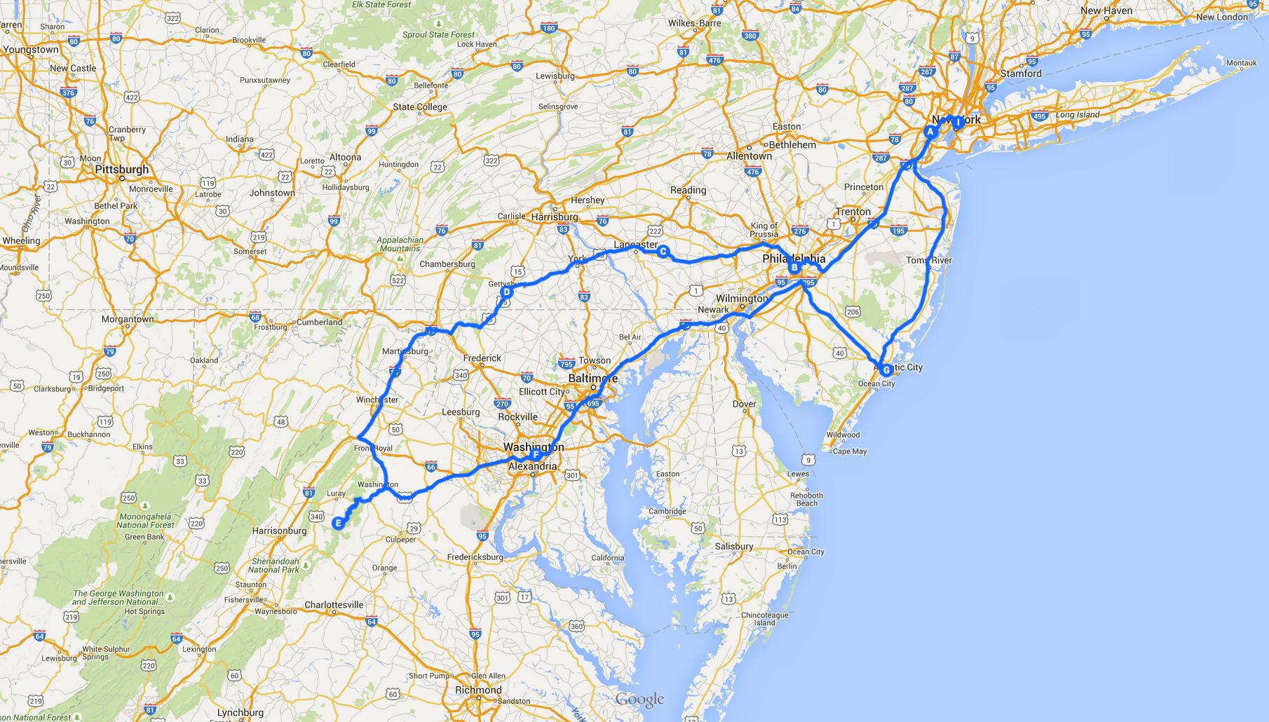 beste route oostkust amerika