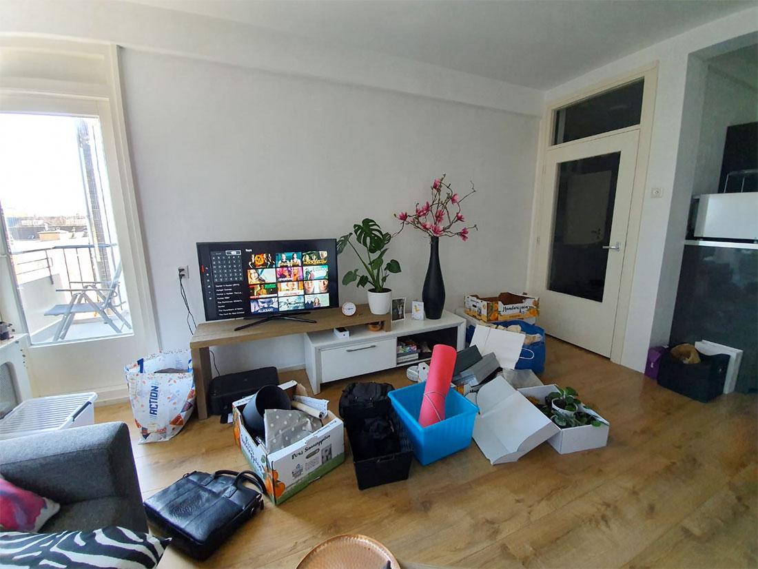 Spullen in Utrecht die klaarstaan om naar Antwerpen te verhuizen.